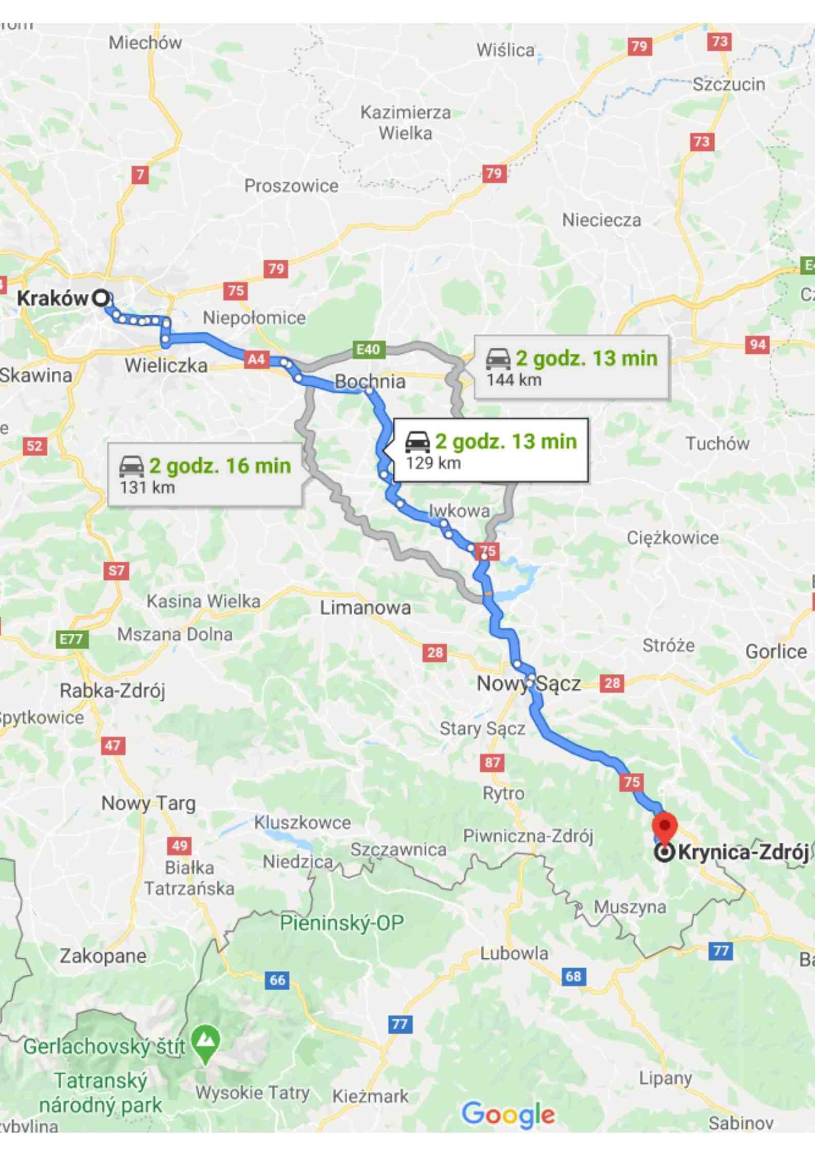 Mapa, dojazd do Krynicy