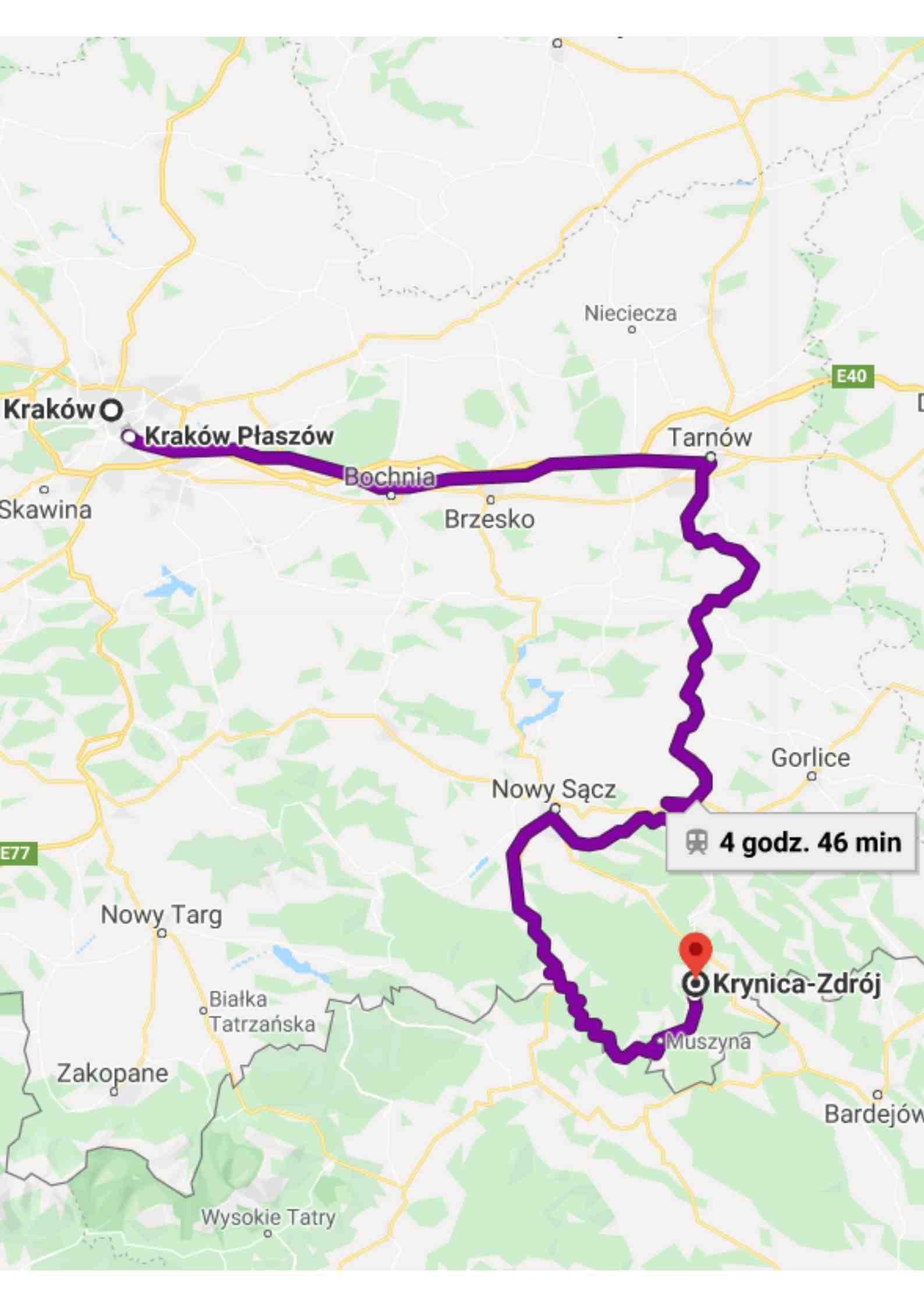 Mapa, dojazd do Krynicy, pociąg