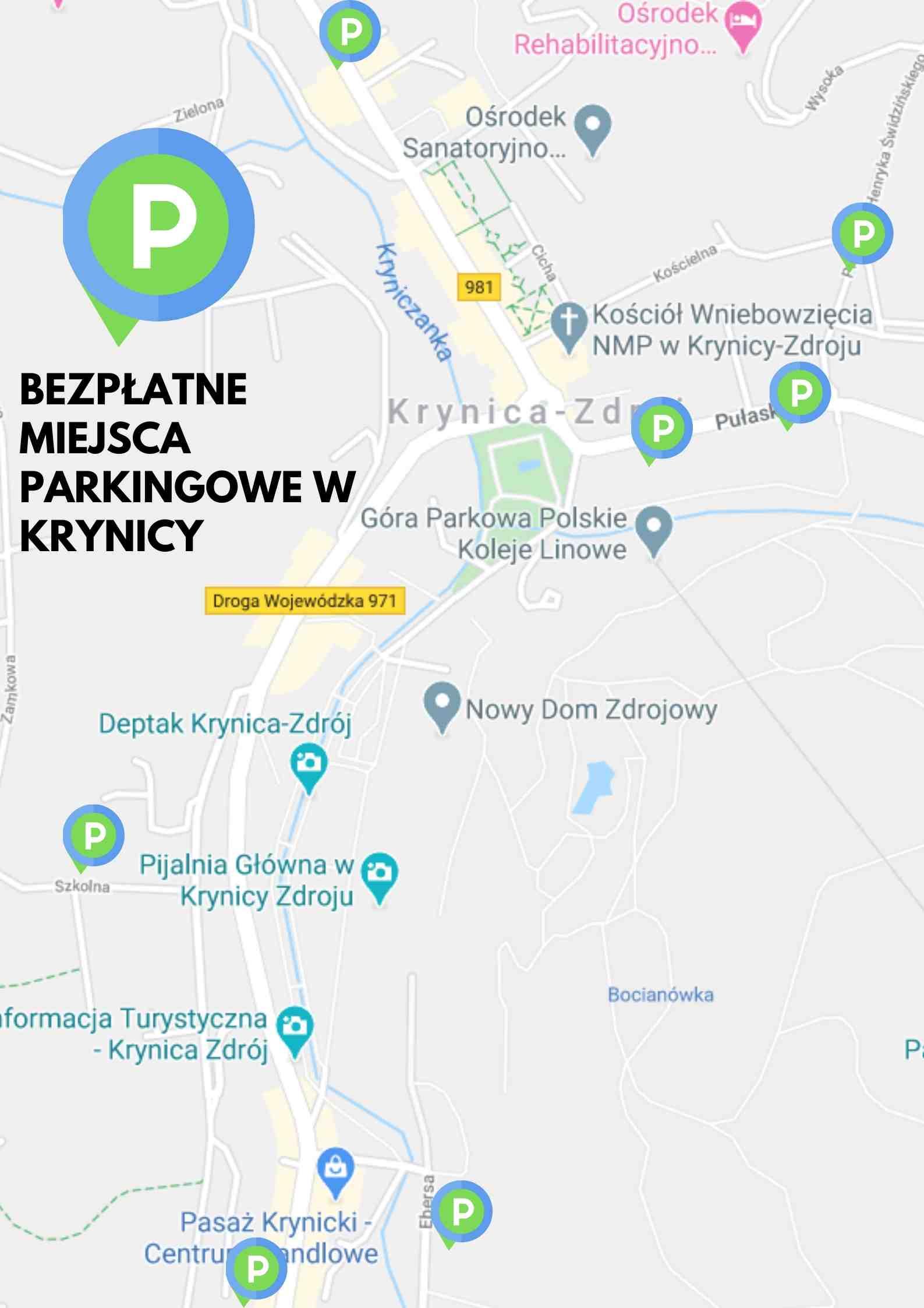 Krynica-Zdrój, parkingi bezpłatne